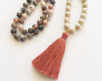 Gemstone Beaded Necklace with Tassel