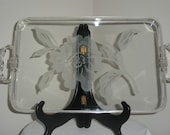 Vintage Lucite Tray with Etched Flower and Twisted Handles