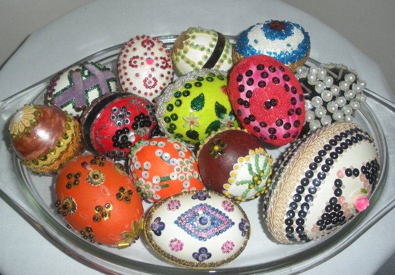 Vintage Decorated Eggs Pin Sequin 14 Total Etsy