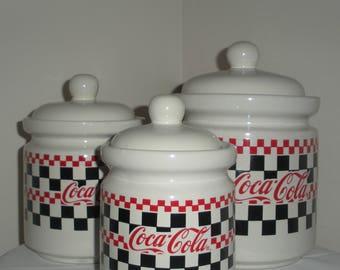 Vintage Coca Cola Canister Set of 3 1997 Coca Cola Memorabilia Coke Canisters
