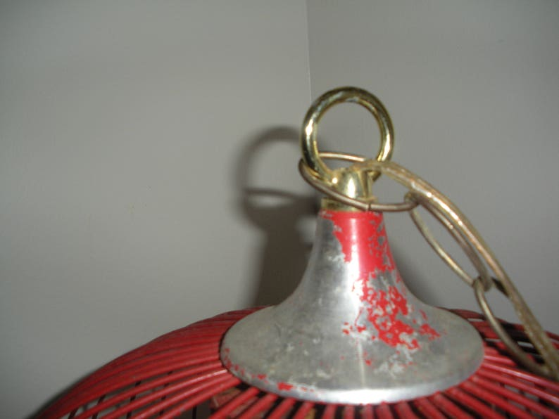 Vintage Metal Hanging Swag Portable Lamp Industrial Rustic Shabby Chic Mid Century Style