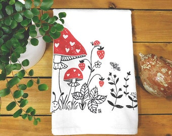 Mushroom tea towel, cotton kitchen towel, nature lover gift, amanita muscaria, for shroom lovers, forager, valentine's day gift