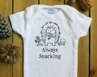 Always Snacking onesie, foraging, geek baby, nerd parents, geek parents, porcupine, hedgehog baby, books, mushroom hunting, gifts under 20