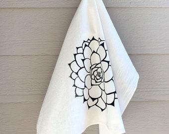 Succulent kitchen dish towel, tea towel with botanical print, cacti cotton drying towel, screen printed gift