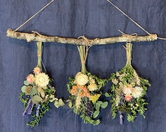Dried flowers rack, dried herbs and grains wall hanging, everlasting, natural, home office, farmhouse decor
