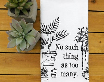 indoor plants tea towel, cotton kitchen towel, houseplants art, plant lady gift, plant life, love your garden, potted plants