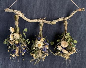 Dried herbs and grains wall hanging, dried flowers rack, everlasting, natural decor for home or office, farmhouse style