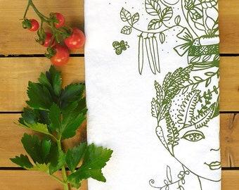 Garden Girl, gardenista tea towel, plant lady, farmers market, plant life, sweet peas, bees, garden lovers gift, veggie seeds, plant lover