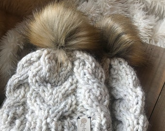 Ready to Gift Mommy and Me Fur Pom Beanies, Matching Family Knit Hats, Gender Neutral Colors, Baby Shower Gift
