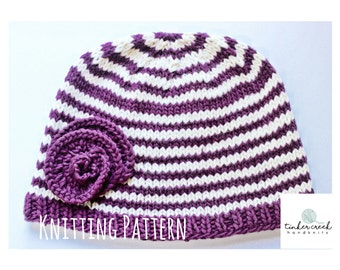 Baby Hat Knit Patterns/Baby Beanie Knitting Pattern/Instant PDF Download/Knitting Pattern Baby Hat//Flower Hat Knitting PDF/T108