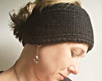 Wool Head Warmer, Wool Headband for Winter, Wide Boho Headband, Ear Warmer Knit Wool, Black Headwrap for Teens and Women