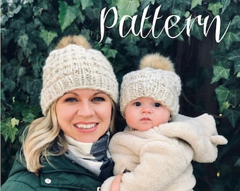 Fur Pom Hat Knitting Pattern, Winter Hat Pattern, Textured Beanie Pattern in Adult, Kids and Baby Sizes, Super Chunky
