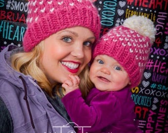Mommy and Me Matching Pom Hats 8529a19999d
