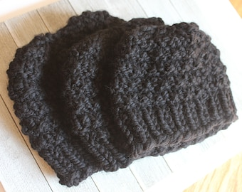 Matching Family Hats, Ready to Gift, Black Knit Hats, Gender Neutral, Chunky Knit, Winter Hats, Beanies