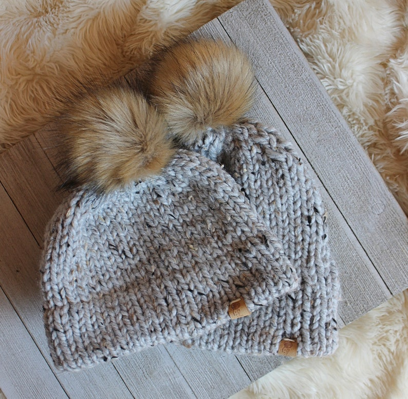 Mother and Baby Matching Pom Hats Chunky Knit Hats  Double Grey Marble SHOWN