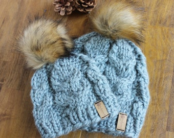 Ready to Gift New Mom and Baby Fur Pom Hats,  Mommy and Me Matching Fur Pom Hats, Baby Shower Gift for Mom and Baby Hats