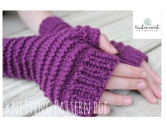 Fingerless Gloves Knitting Pattern/Wrist Warmer Pattern/Mittens/Instant Download/PDF/Digital Pattern/Purple Gloves