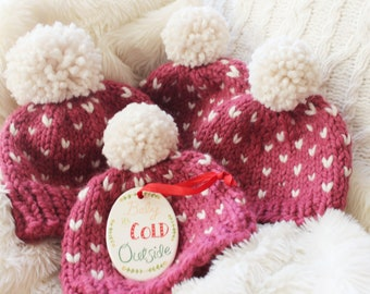 Baby Girl Winter Hat, Valentine's Day Gift Baby, Pink Hat, Little Hearts Hat, Baby Shower Gift, Ready to Gift
