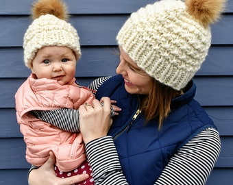 Mommy and Me Fur Pom Hats, Matching Faux Fur Hats, Faux Fur Pom Beanie for Baby, Mother and Baby Fur Pom Pom Hats, Neutral Baby Beanie, Knit