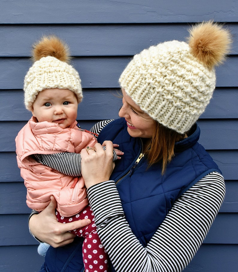f834a25a73737 Mommy and Me Fur Pom Hats Matching Faux Fur Hats Faux Fur