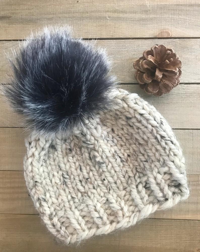 Fur Pom Baby Beanie Baby Fur Pom Hat Chunky Knit Fur Pom Oatmeal (SHOWN)