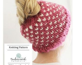 Fair Isle Bun Hat, Knitting Pattern, Messy Bun Pattern, Bun Hat Pattern, Bun Beanie Pattern, Girls Bun Hat, Womens Bun Hat, Chunky Hat