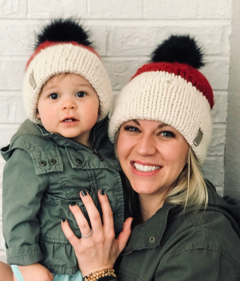 Mommy and Me Christmas Hats Matching Fur Pom Beanies for Mom image 0