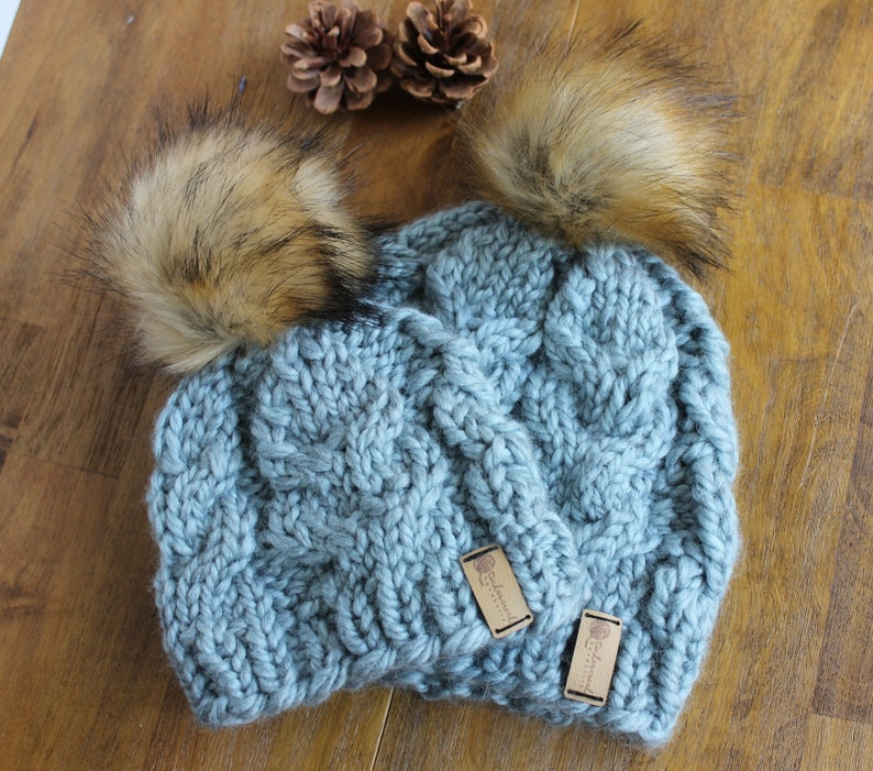 Mommy and Me Fur Pom Hats Matching Kid and Mom Hats Winter Arctic Blue SHOWN