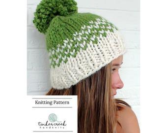 Womens Pom Pom Hat Pattern, Fair Isle Knit Hat Pattern, Large Pom Pom Hat, Easy Beanie Pattern, Chunky Winter Beanie Knitting Pattern,