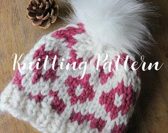 Knitting Pattern, Fair Isle Beanie, Knit Hat, Easy Pattern, Chunky Beanie for Women