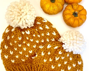 Fall Hats Mom and Baby, Fall Baby Beanie, Big Pom Hats, Ready to Gift, Baby Shower Gift, Gift for Mom, Big Pom Hat