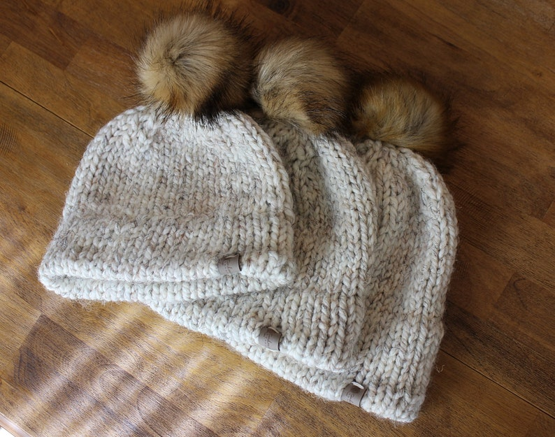 Chunky Knit Matching Family Hats Double Brim Hat Fur Pom image 0