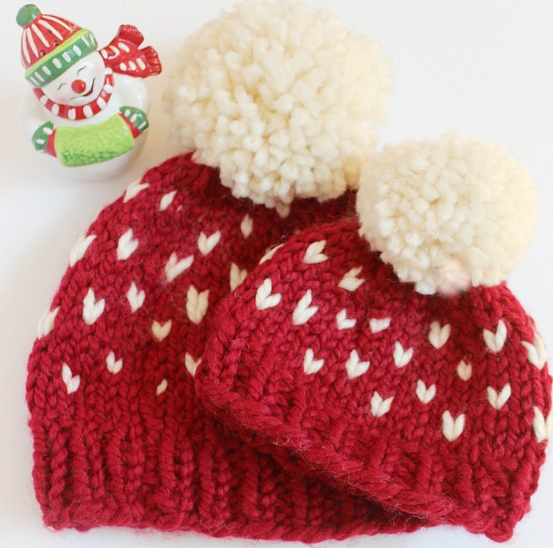 Fair Isle Matching Hats Mommy and Me Christmas Hats Holiday image 0