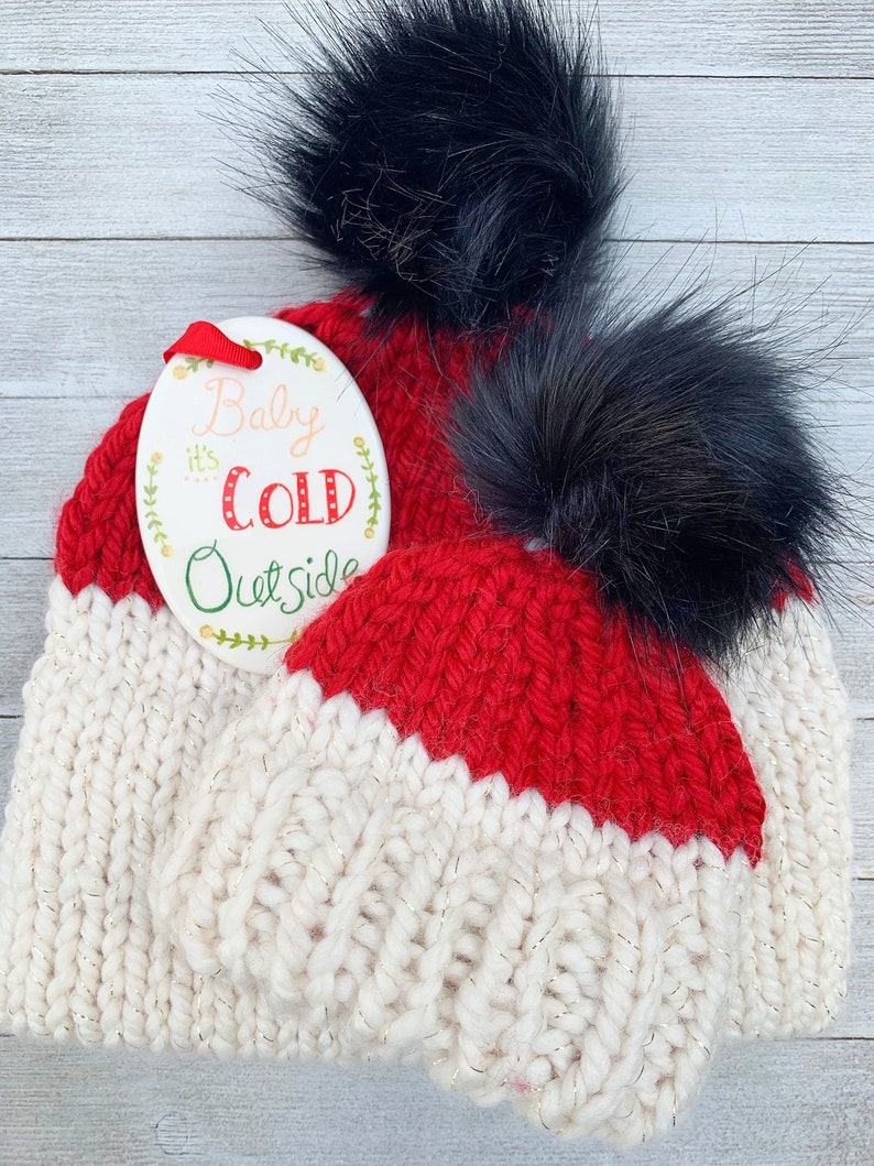 793da2e2f Mommy and Me Christmas Hats, Matching Fur Pom Beanies for Mom and Baby,  Double Brim Knit Hat, Two Tone Hat for Baby, Child, Adult