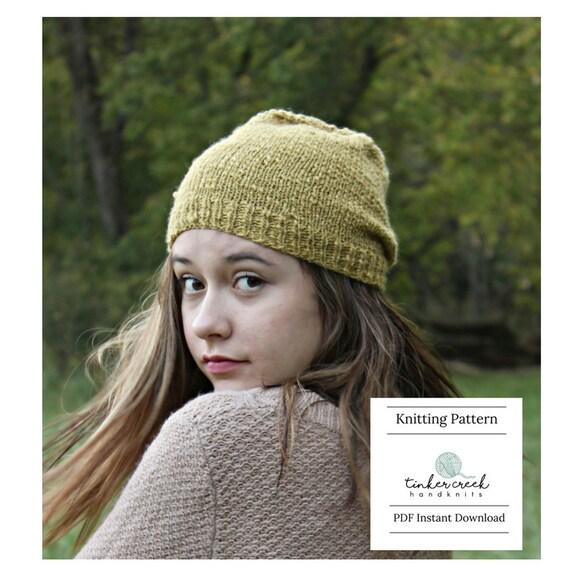 Hipster Beanie Hat Knitting Pattern Knitting Patterns