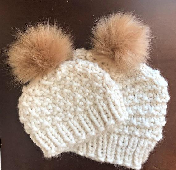 983e6c5d070 Fur Pom Beanie Faux Fur Pom Pom Hats Mommy and Me Pom Hats