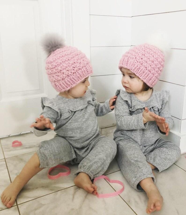 Baby Girl Winter Hat Fur Pom Baby Hat Toddler Winter Hat image 0
