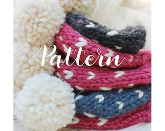 Pom Pom Hat Knitting Pattern, Chunky Beanie Knitting Pattern, Fair Isle Hat Pattern, Little Hearts Hat Knitting Pattern, Baby Hat Pattern