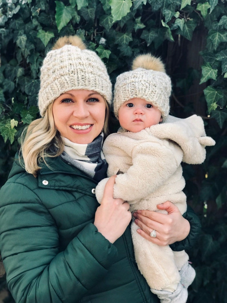 Mommy and Me Fur Pom Hats Matching Faux Fur Pom Hats Faux image 0