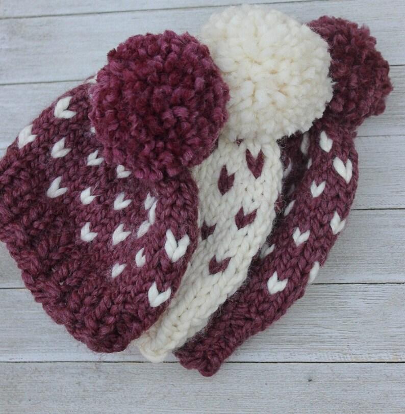 Winter Hat Baby Girl Pom Hat Chunky Knit Beanie Pom Pom image 0
