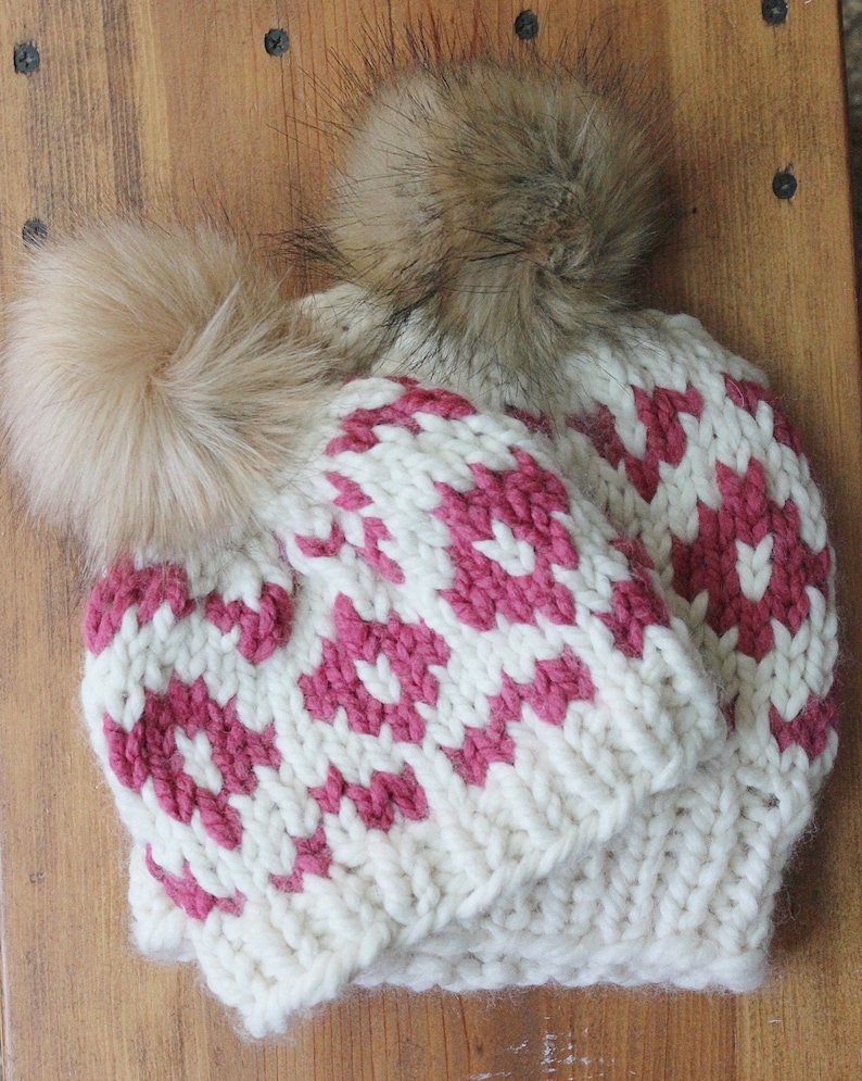 Mommy and Me Hats Mom and Baby Girl Winter Hat  Matching Pom image 0