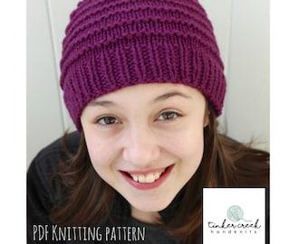 Easy Beanie Pattern, Easy Hat Pattern, Beanie Pattern Knit, Girls Beanie Pattern, Knit Beanie Pattern, Beanie Pattern, Children Hat Pattern