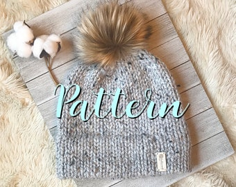 Double Brim Hat Knitting Pattern, Knit Hat Pattern, Knit Beanie Pattern, Fur Pom Hat Knitting Pattern, Digital Download
