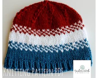 Baby Hat Knit Patterns/Olympics Baby Hat Pattern/Knitting Pattern PDF/ Instant Download/PDF Pattern/Red White and Blue Hat Knitting Pattern