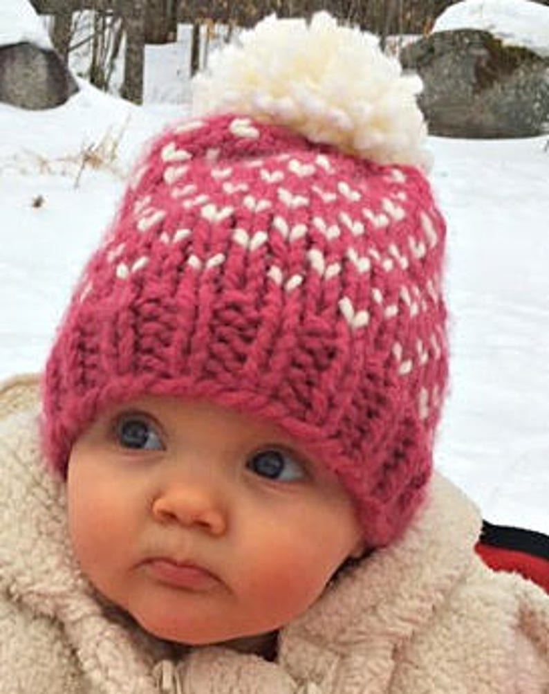 85bf458a266 Baby Girl Pink Hat Baby Pom Pom Hat Valentines Day Baby Hat