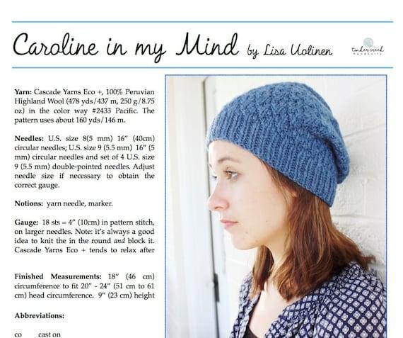 Knitted Hat Pattern Beanie Pattern Easy Knit Pattern Winter Etsy