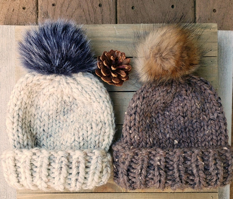 Mommy and Me Fur Pom Beanie Hats Fur Pom Knit Hat for Baby Barley