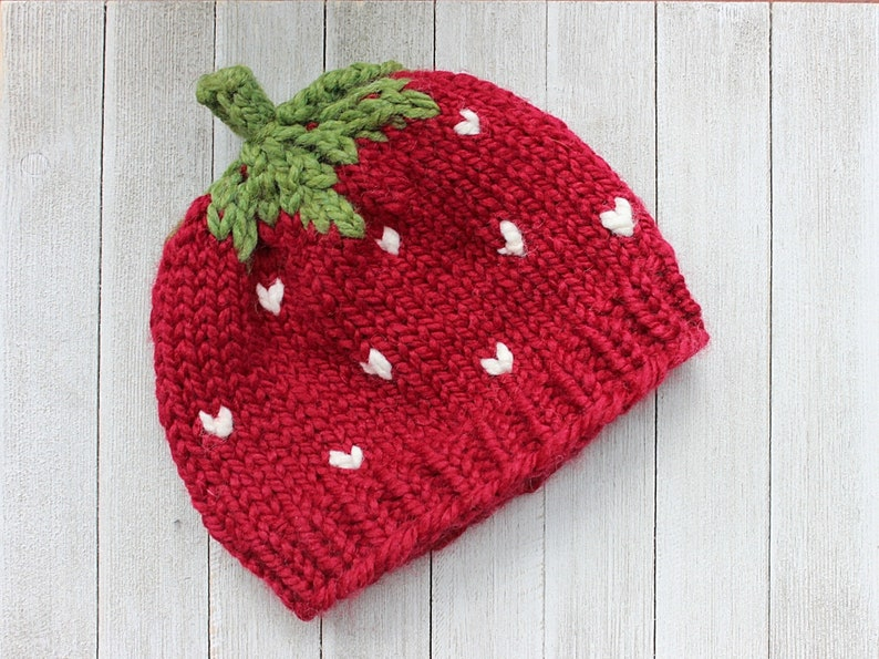Strawberry Hat for Baby Toddler Knit Hat for Halloween Baby image 0