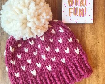 Ready to Gift Baby Girl Pom Hat, Baby Pom Pom Hat, Baby Shower Gift Hat, Warm Baby Beanie