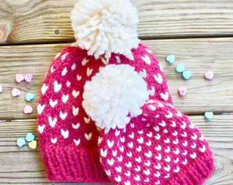 Mommy and Me Hats, Pom Pom Beanie, Fair Isle, Ready to Gift, Baby Shower Gift, Gift for Mom